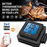 Bluetooth Meat Thermometer for Grilling, TURATA Wireless Remote Thermometer Digital Cooking Thermometer with 2 Steel Probes, Instant Reading, Magnetic Mounting, Alarm Monitor for Cooking, Kitchen, Food, Grill, BBQ, Steak, Turkey, Chicken, Support iOS , Android