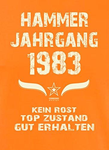 Bequemes 34. Jahre Fun T-Shirt zum Männer-Geburtstag Hammer Jahrgang 1983 Ideale Geschenkidee zum Jubeltag Farbe: orange Orange