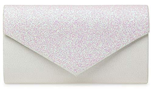 Caspar TA517 Damen kleine elegante Envelope Glitzer Clutch Tasche Abendtasche, Farbe:weiss, Größe:Einheitsgröße - Hochzeit Clutch