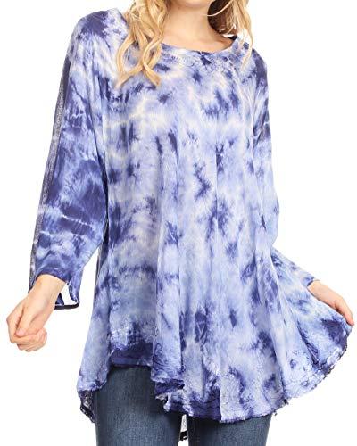 Sakkas 19227 - Gilda Damen Sommer Kurzarm/Langarm Swing Kleid Tunika Cover-up - 19259-RoyalBlue - OS (Gilda Kleid)