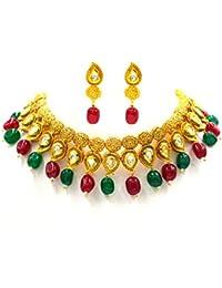 Aashya Mayro Rajwadi Kundan Stone Work, Gold Plating Antique Design, Choker Necklace And Earring Set For Women...