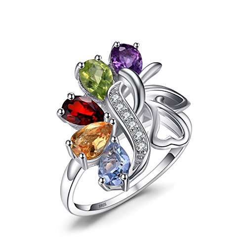 Jewelrypalace 1.78ct Luxus Damen Natürliche Bunt Amethyst Citrin Granat Peridot Topas Silbrring Ring 925 Sterlingsilber