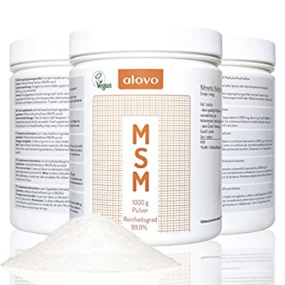 Pure MSM powder pure sulfur 99.9% pure 1 Kg of methylsulfonylmethane UV light protected - solid can Vegan - Organic Nutritional supplement for joint health Alovo