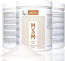 Azufre puro en polvo MSM puro 99,9% puro | 1 Kg methylsulfonylmethane | luz UV resistentes - caja sólida | Vegan - orgánico | Suplemento dietético para las articulaciones | alovo