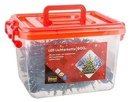 Idena 31090 - LED Lichterkette mit 600 LED in warm weiß, mit 8 Stunden Timer Funktion, Innen und Außenbereich, für Partys, Weihnachten, Deko, Hochzeit, als Stimmungslicht, ca. 50 m -
