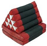Guru-Shop Cojines, Cojines Tailandeses Triángulo, Kapok, Cama de día con 2 Soportes - Rojo / Negro, Algodón, 30x50x120 cm, Cojín Tailandés / 2 Soportes