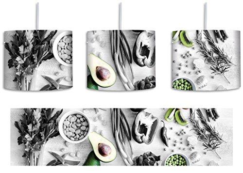 Grüne Sprossen Obst (schöne Gemüse und Obst Vielfalt schwarz/weiß inkl. Lampenfassung E27, Lampe mit Motivdruck, tolle Deckenlampe, Hängelampe, Pendelleuchte - Durchmesser 30cm - Dekoration mit Licht ideal für Wohnzimmer, Kinderzimmer, Schlafzimmer)