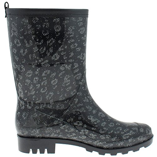 Capelli New York Glitter Printed Leopard Ladies Short Basic Body Jelly Rain Boot