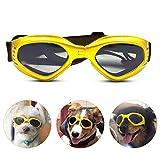 Peteg Hundebrille Hundesonnenbrille Verstellbarer Riemen Uv-Sonnenbrille Wasserdichter Schutz Hund,Gelb