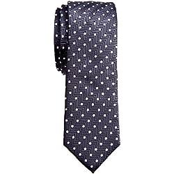 Corbata Retreez con nudo hecho para chico, textura de rayas en zigzag y lunares, microfibra de 5 cm Gris gris oscuro Talla única