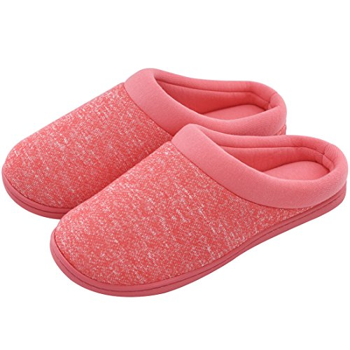 HomeTop Ladies 'Confort Slip On Franc鳠Terry Forro Interior de Espuma de Memoria Clog Zapatillas de casa, Color Rojo,  37 - 39 EU