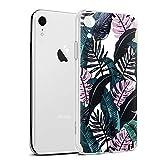 Eouine Coque iPhone XR, Etui en Silicone 3D Transparente avec Motif Peinture Design [Anti Choc] Housse de Protection Case Coque pour Téléphone Apple iPhone XR 2018-6,1 Pouces (Feuilles Noires)