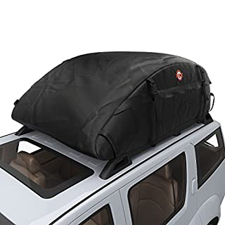 Waterproof Car Top Carrier- Roof Cargo Bag Box Easy to Install Soft Rooftop Luggage Carriers with Wide Straps, Best for Traveling Cars Vans SUVs (16.7 Cubic Feet)