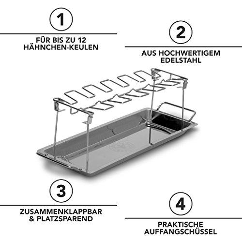 51p2%2BMgLU5L - Grill Republic Premium Hähnchen-Halter (BBQ-Rack) I Hähnchenschenkelhalter aus Edelstahl für bis zu 12 Keulen l Platzsparendes Grillzubehör als optimales Geschenk für Grillfans