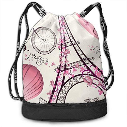 ewtretr Turnbeutel Hipster Sporttaschen Bike Eiffel Tower Draw String Backpack Bags Sack Pack Cinch Storage Bag for Traveling Hiking