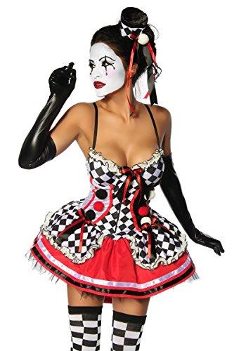 Sexy Harlekin Joker Karo Kostüm Damen mit Rüschen und Schleifen (L) (Joker Damen Kostüm)