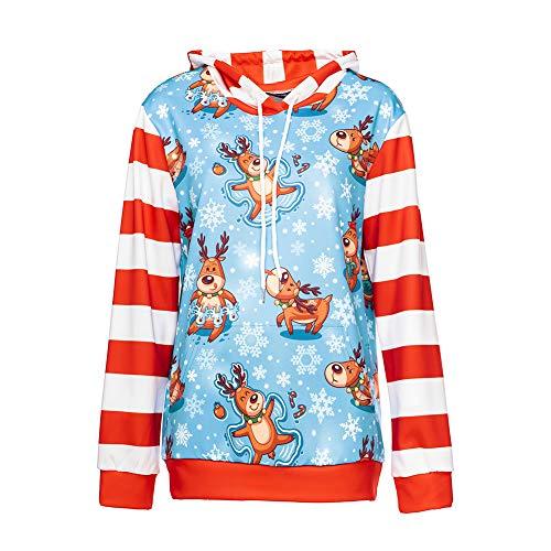 Yaxuan Weihnachts Hoodies, Damen-3D-Druck Lange Ärmel Top Bluse Hemden Pullover Herbst Winter Tops Bluse,1,L