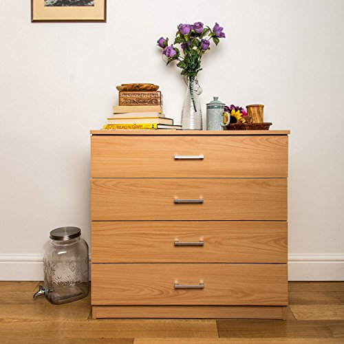 Home Treats Chest Of 4 Drawers Beech Bedroom Furniture. Anti-Bowing Clothes Organiser For Any Room.