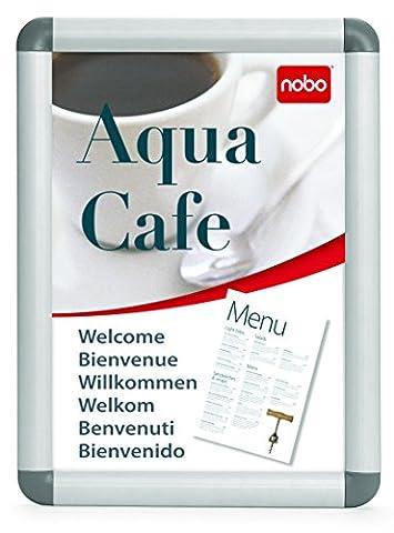 Nobo - Stand d'Affichage Clipsable, Cadre Aluminium, A4 (248x370x17 mm)