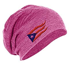 Puerto Rico Flame Flag On Black Embroidered Slouch Long Beanie Skully Hat Cap Pink