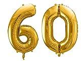SiDeSo® Folienballon XXL GOLD Heliumgeeignet Party Geburtstag Jahrestag Hochzeitstag Jubiläum Zahlenluftballon Luftballon Zahl (Zahl 60)