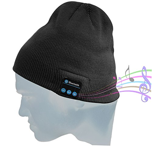 DMG Wireless Bluetooth Unisex Bluetooth Beanie Hat Winter Warm Cap with Built in Wireless Stereo Speaker Headphone for Outdoor Sport (Black)