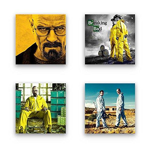 Breaking Bad - Set A schwebend, 4-teiliges Bilder-Set je Teil 19x19cm, Seidenmatte Moderne Optik auf Forex, UV-stabil, wasserfest, Kunstdruck für Büro, Wohnzimmer, XXL Deko Bild