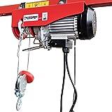 CROSSFER PA250A Elektrischer Seilhebezug 230Volt für 125kg/250kg Last Seilwinde mit Umlenkrolle als Flaschenzug Seilzug 12 Meter Hubhöhe Hebezug Lastkran