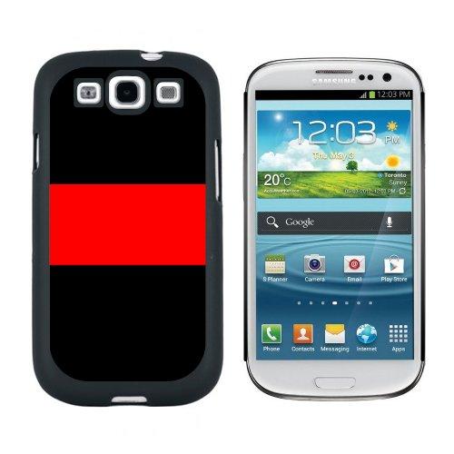 Thin Red Line * Feuerwehr DLRG Rettungsdienst * Snap-on Hartschalen-Schutzhülle für Samsung Galaxy S3, Schwarz (Sprint Galaxy Phone S 3)