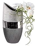 Formano Moderne Deko Vase Blumenvase aus Keramik Luxor Silber Höhe 30 cm