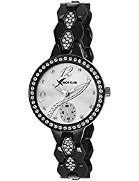 Rich Club RC-2272 Full Black Diamond Glass Analog Watch For Girls And Women