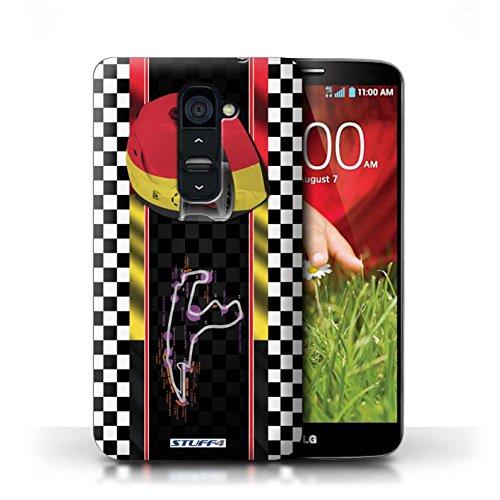 Kobalt® Imprimé Etui / Coque pour LG G2 / USA/Austin conception / Série F1 Piste Drapeau Belgique/Spa