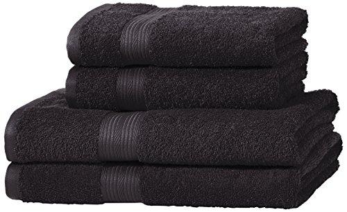 AmazonBasics Handtuch-Set, ausbleichsicher, 2 Badetücher und 2 Handtücher, Schwarz, 100% Baumwolle 500g/m²