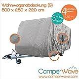 LUXUS Wohnwagen-Abdeckhaube, Spezielle 4-Schicht Abdeckung für Fahrzeuge mit einer Länge von 4,50 Meter-5,0 Meter, UV- Beständig + Atmungsaktiv, EXTRA lange Spannbänder für jede Wetter- und Windlag