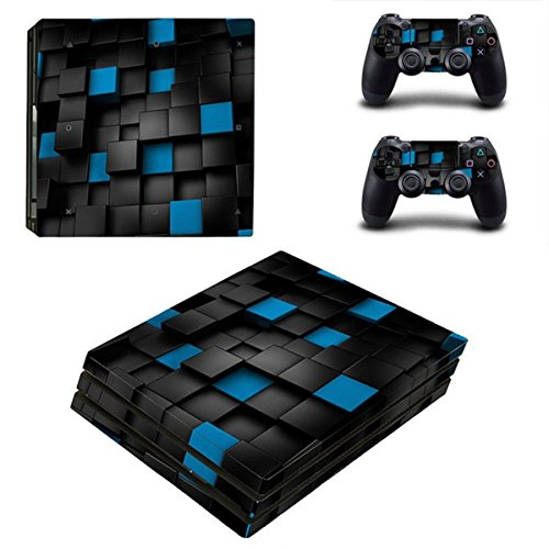 Morbuy Ps4 Pro Skin Consola Design Foils Vinyl Pegatina Sticker Decal And 2 Playstation 4 Pro Dualshock Controlador Skins Set (Blue Box)