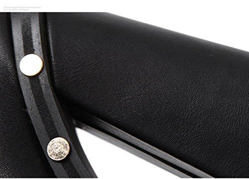 QPYC Stivaletti da donna in pelle di vacchetta ruvida a punta alta, stivali femminili black