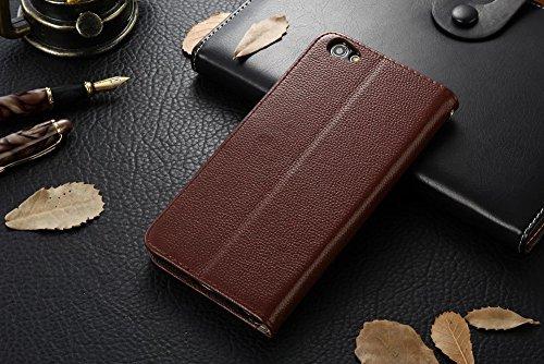 Pour VIVO X7 Plus Housse Housse Flip Stand Soft en cuir véritable Litchi Texture Case avec Holder & Card Cash Slots & Photo Frame ( Color : Black ) Brown