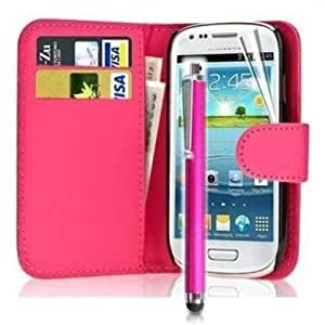 Mega.Deals4U® - PU Leather Flip Card Wallet Case For SAMSUNG GALAXY ACE 3 III GT S7270 S7272 S7275 INCLUDING STYLUS PEN + SCREEN PROTECTOR + CLEANING CLOTH (Pink)