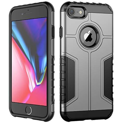 JETech Custodia iPhone 8 e iPhone 7, Doppio Strato Protettivo Cover con Assorbimento degli Urti, Argento