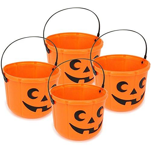 COM-FOUR® 4x Halloween Körbe, Kürbis Eimer zum Sammeln von Süßigkeiten zu Halloween, 14 cm hoch, Ø 18 cm (04 Stück - 14x18 cm)