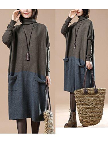 Vogstyle Damen Frühling/Herbst Neuer Kleid Pullover Art 3 Khaki