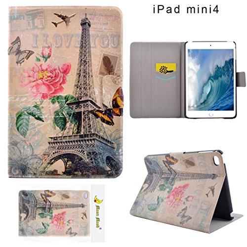 Preisvergleich Produktbild Moon mood® PU Leder Schutzhülle für Apple iPad Mini 4 (7.9 Zoll) Hart PC Innern Hülle mit Bunte Malerei 2 Kartenfächer Standfunktion Tasche (Eiffelturm Schmetterling Pink Blume Flugzeug)