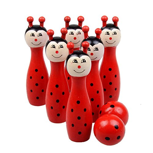 Omiky® Kinder Baby Cartoon Holz Bowling Bälle Tiere Outdoor Fun & Sport Spiel Spielzeug (Rot)