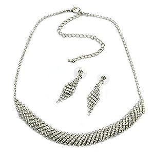 Damen Set Strass-Ohrringe Halskette Strass-Kette Modeschmuck Straß Collier Silber