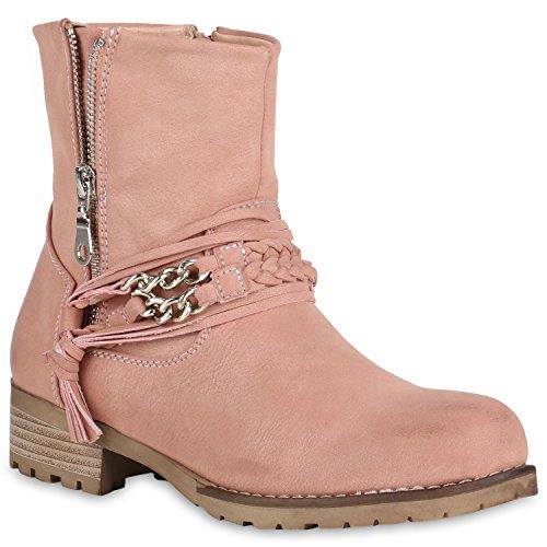 Stiefelparadies Leicht Gefütterte Damen Schuhe Biker Boots Stiefeletten Zipper Stiefel 147750 Rosa Amares 40 Flandell