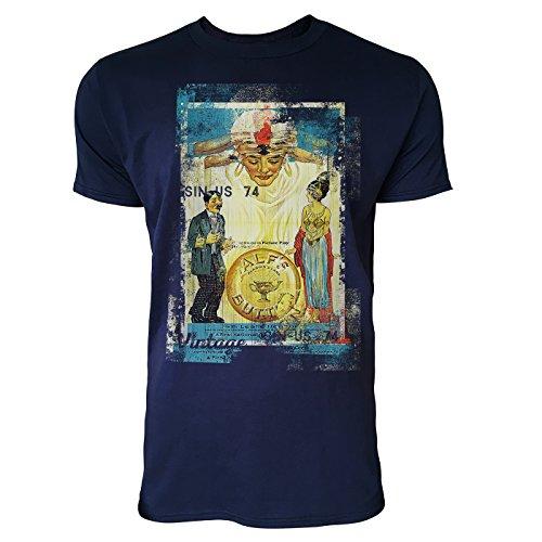 Paul Sinus Art Alfs im Jugendstil Herren T-Shirts Stilvolles Dunkelblaues Navy Fun Shirt mit Tollen...