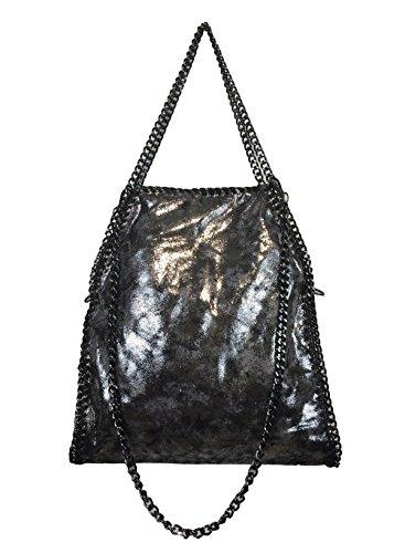 Fashion, Borsa a spalla donna Schwarz/Silber (kleiner)