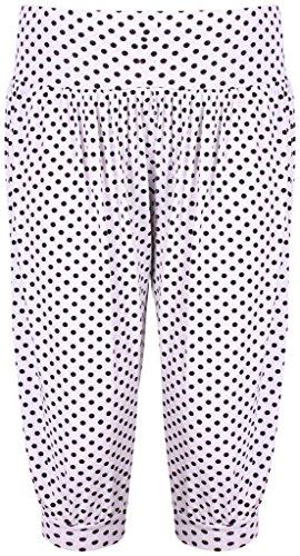 Islander Fashions Damen Short Weiß mit schwarzen Punkten