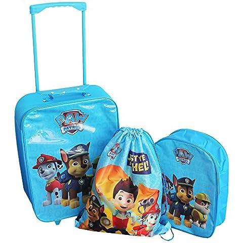 Paw Patrol Chase Trümmer Marshall's Blau 3 Stück Kinder Reise Luggage Set Trolley Tasche Koffer Rucksack Kordelzug Schuhe Schwimmen Gymnastiktasche