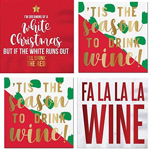 Lustige weihnachtliche Cocktailservietten, Wein-Sätze, Goldfolie, verschiedene Sorten